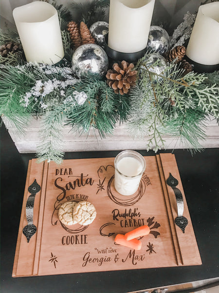 Personalized Wood Engraved Santa Tray
