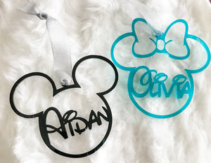 Mickey/Minnie Acrylic Personalized Ornament