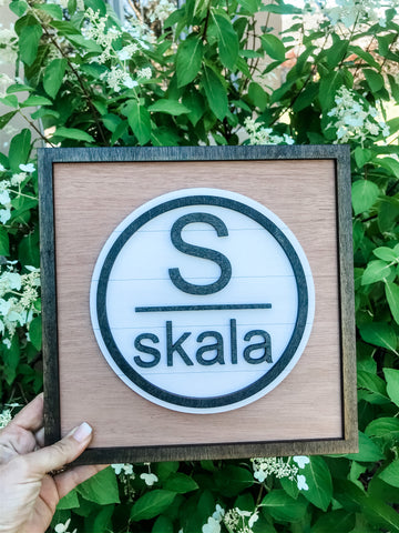 Modern Initial and Name wood frame