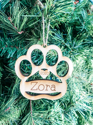 Personalized Dog Paw print ornament