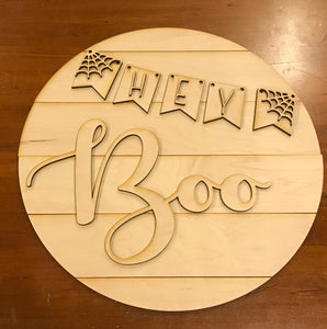 "DIY Hey Boo Halloween paint kit 18"" round sign"