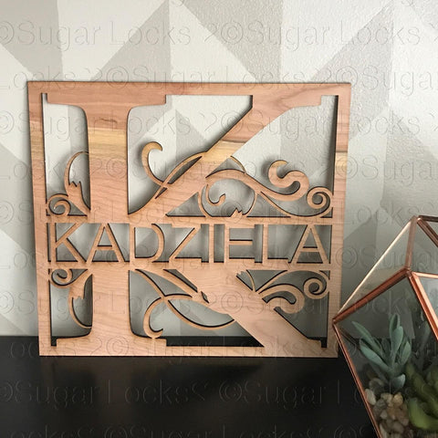 Scrolling Last Name Wood Sign for door or Shelf