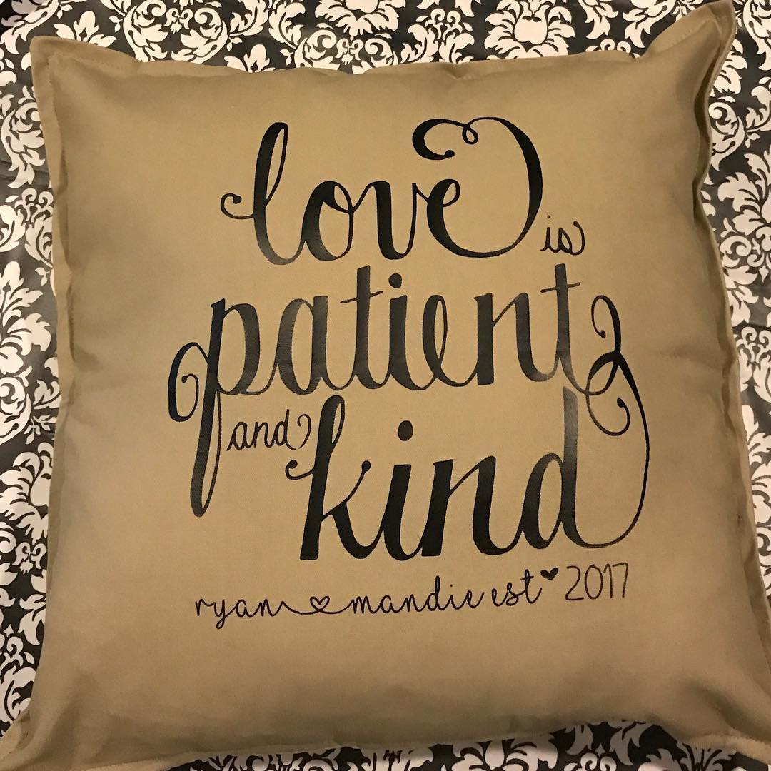 Love is Patient and Kind Custom Personalized Pillow cover