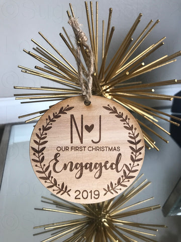 Our 1st Christmas Engaged Wood Ornament