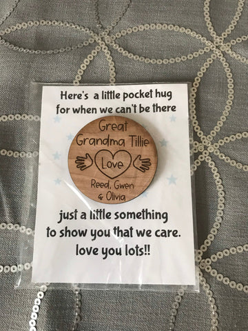 Pocket Hug Engraved Wooden Token Card Gift