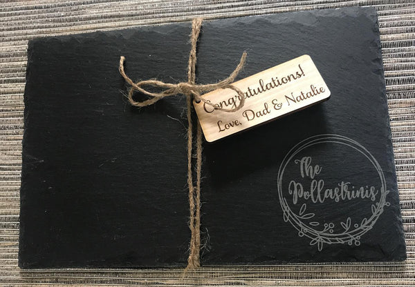 Engraved Slate Cheese Tray Last Name with floral wreath