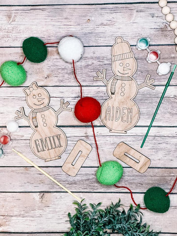 DIY table setting personalized snowman/snowgirl kit