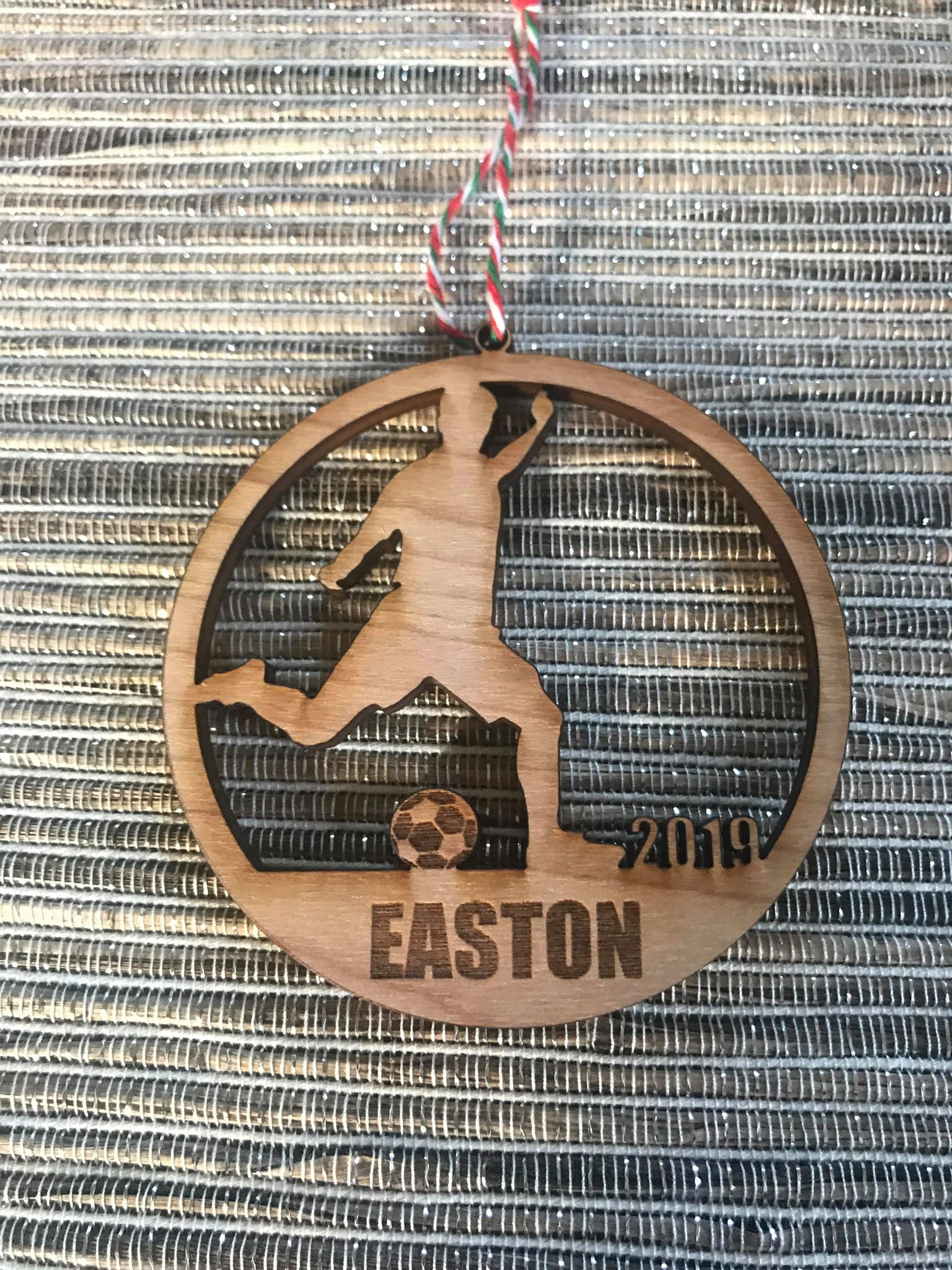 Soccer Boy custom personalize wood laser cut ornament