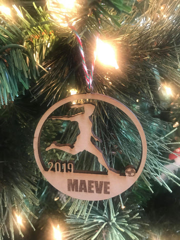 Soccer Girl custom personalize wood laser cut ornament