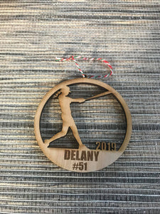 Softball girl custom personalize wood laser cut ornament