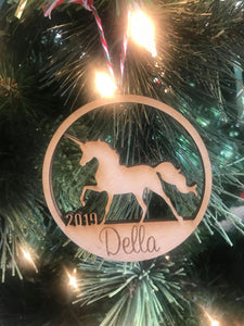 Unicorn custom personalize wood laser cut ornament