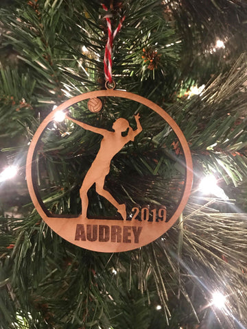 Volleyball Girl custom personalize wood laser cut ornament