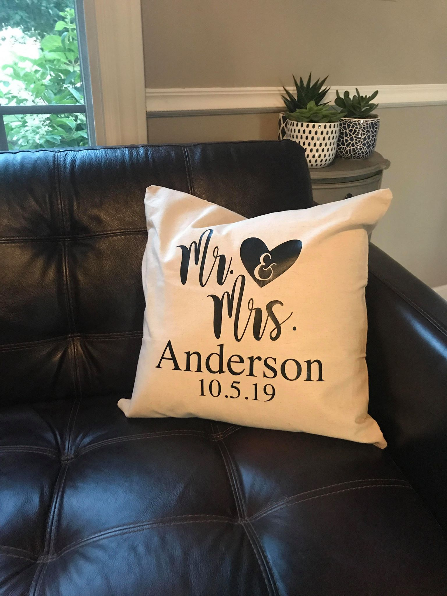 Mr. and Mrs. Established Date Custom Personalized Pillow cover