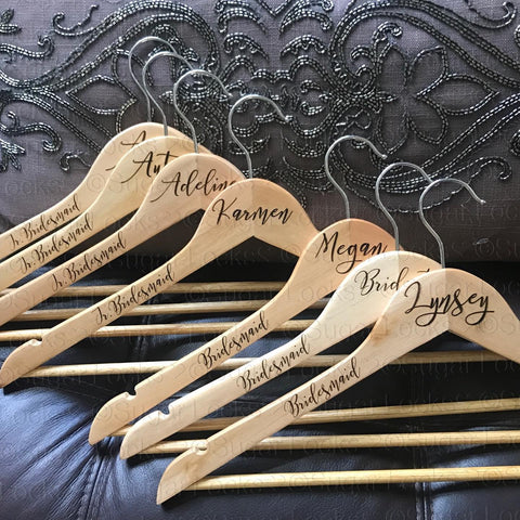 Bridal Party Wood Hangers Custom Personalized