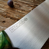 NORA #1466 - 8' AEB-L Gyuto - Dyed & Stabilized Green Maple