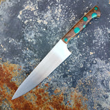 Chef #1101 - 52100 Carbon Steel - Teal Dots