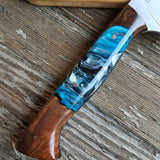 "NORA #1514 - 7.5"" Chef - 01 Carbon Steel - LASER - Witte Teal Shokwood"