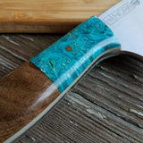 "NORA #1518 - 7.5"" Deba - 01 Carbon Steel -  Walnut & Teal Blue Box Elder"