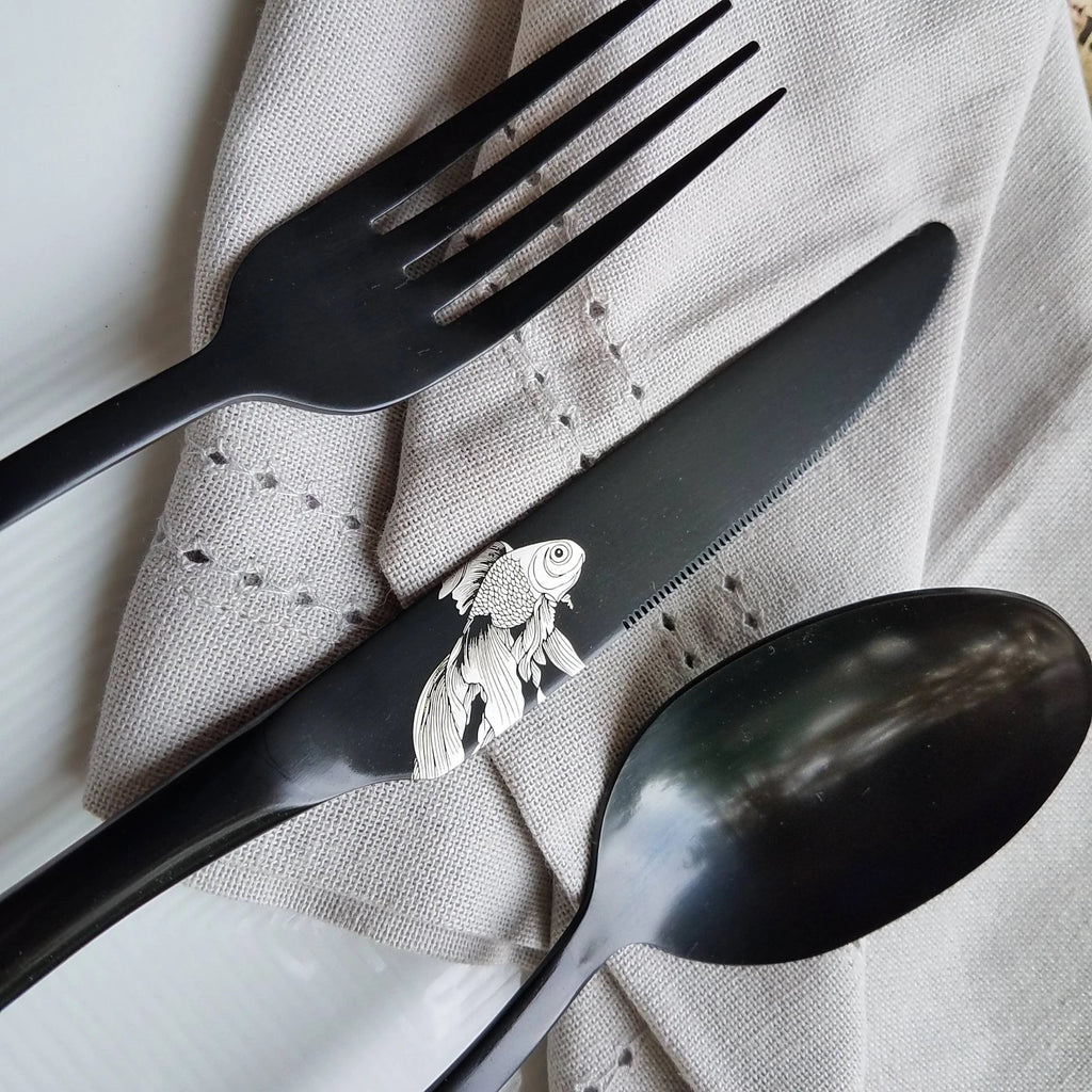 Veiltail Goldfish Pattern - Stainless Steel Black PVD Flatware