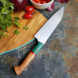 BF2019 - NORA #1601 - 7.5 Santoku - Dyed Curly Maple & Cherry Wood