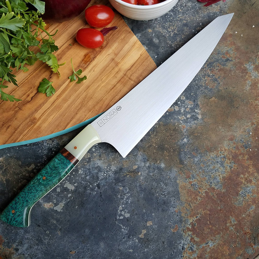 "BF2019 - NORA #1602 - 9.5"" Gyuto - Mango and Ghost G10"