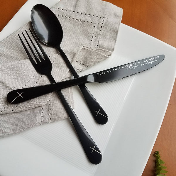 Our Daily Bread - The Lord's Prayer - Stainless Steel Black PVD Flatware