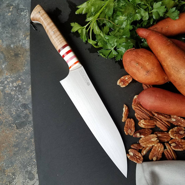 BF2019 - NORA #1610 - 7.5 Santoku - Curly Maple & Stripes