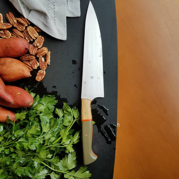 "BF2019 - NORA #1614 - 8.5"" Chef Knife - OD Green & Olivewood"