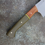 NORA #1644  - 10 Inch Chef - O1 Carbon Steel - OD Green G10 & Burlap Micarta