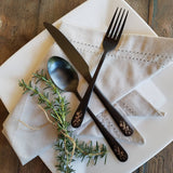 Custom Flatware 'Blade & Bloom' Sweetheart Set - Stainless Steel Black PVD Flatware