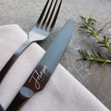 Custom Family Name Flatware - Stainless Steel Black PVD Flatware