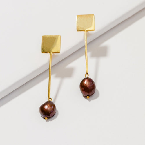 Bronze natural baroque pearl earrings-Deserved Luxury