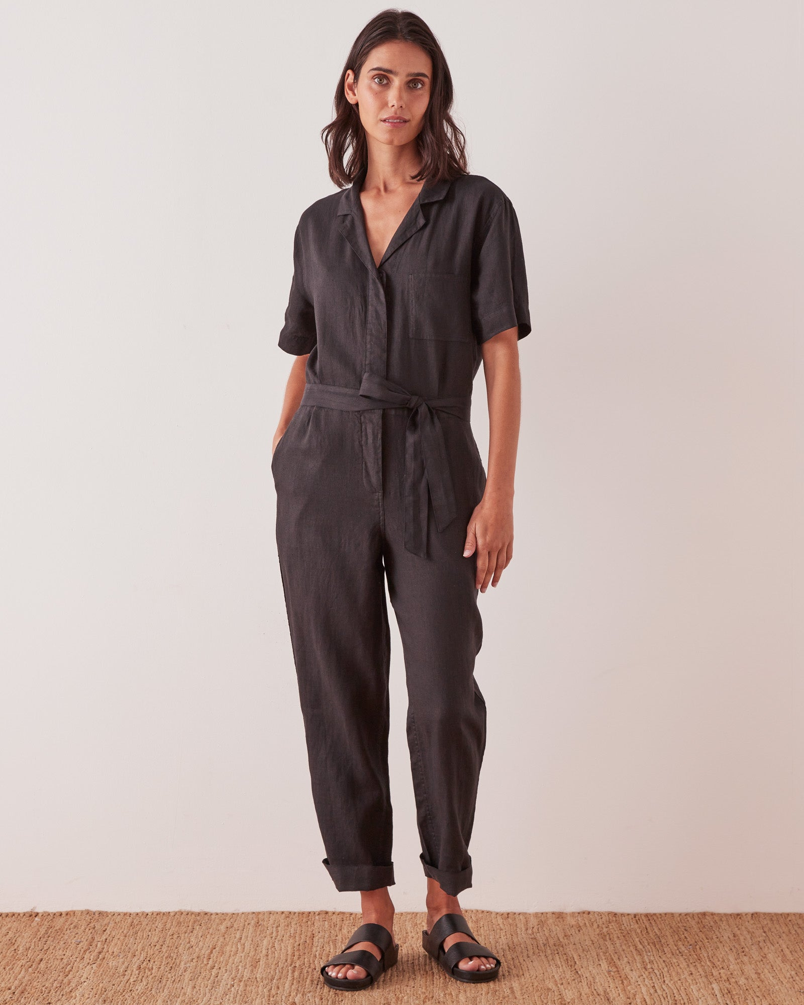 Blair Linen Boilersuit Black