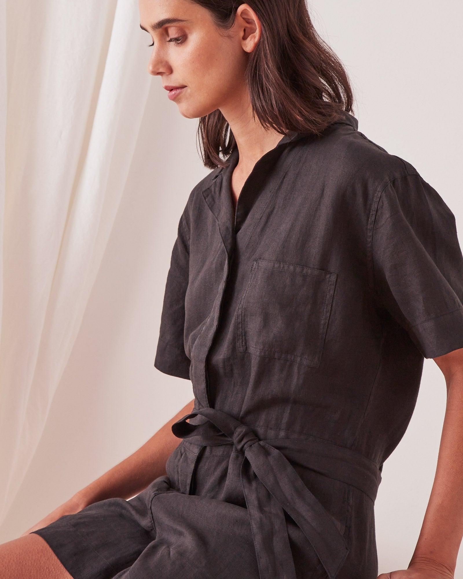 Blair Linen Playsuit Black