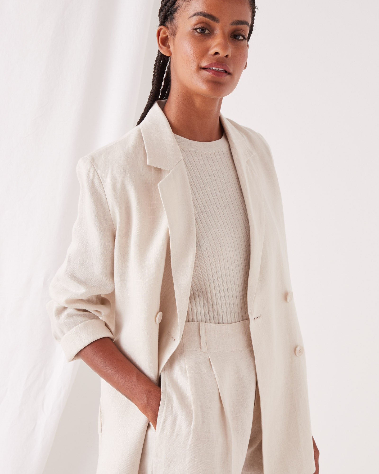 Double Breasted Linen Blazer Ivory