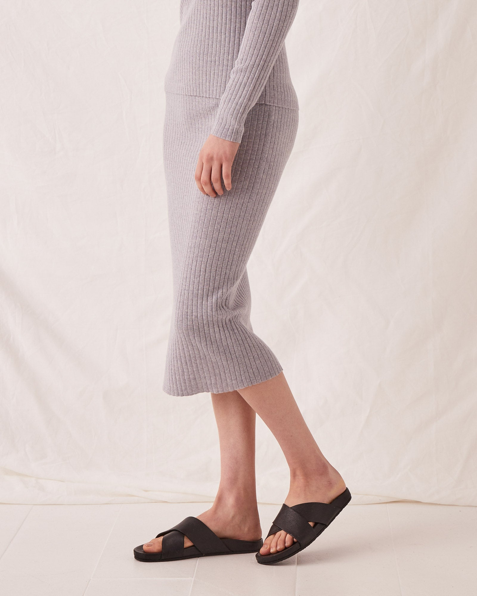 Ella Midi Skirt Grey Marle