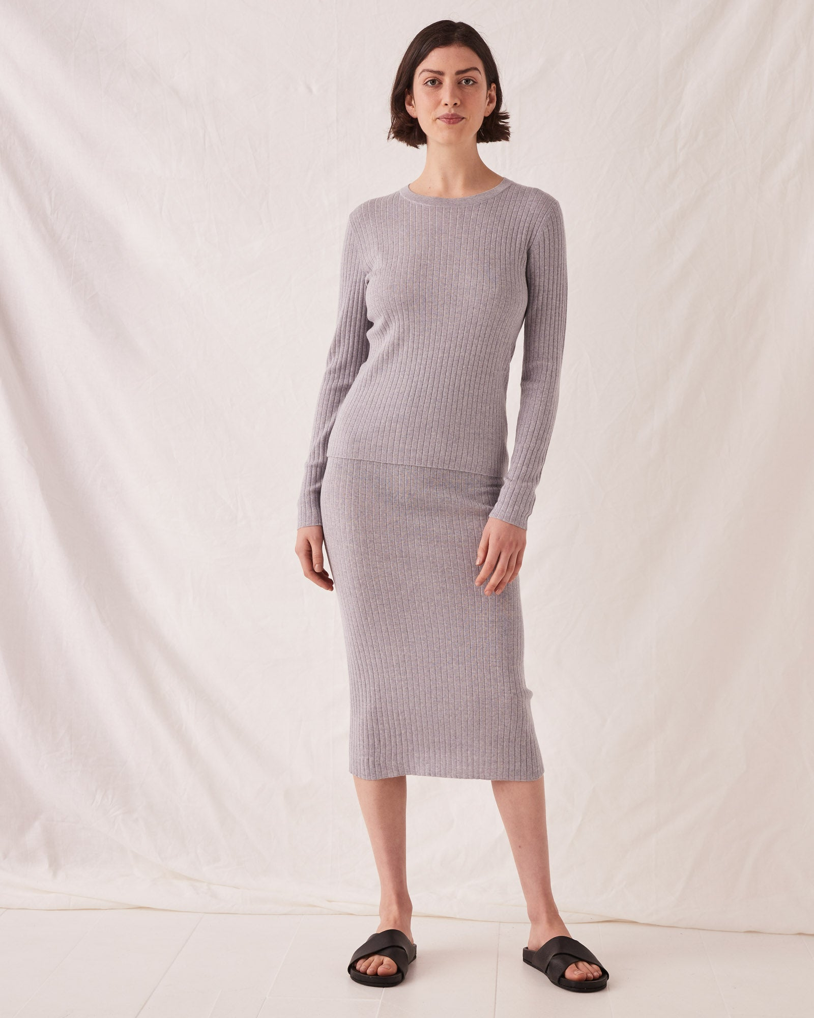 Ella Long Sleeve Knit Grey Marle