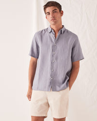 Casual Short Sleeve Shirt Steel Blue