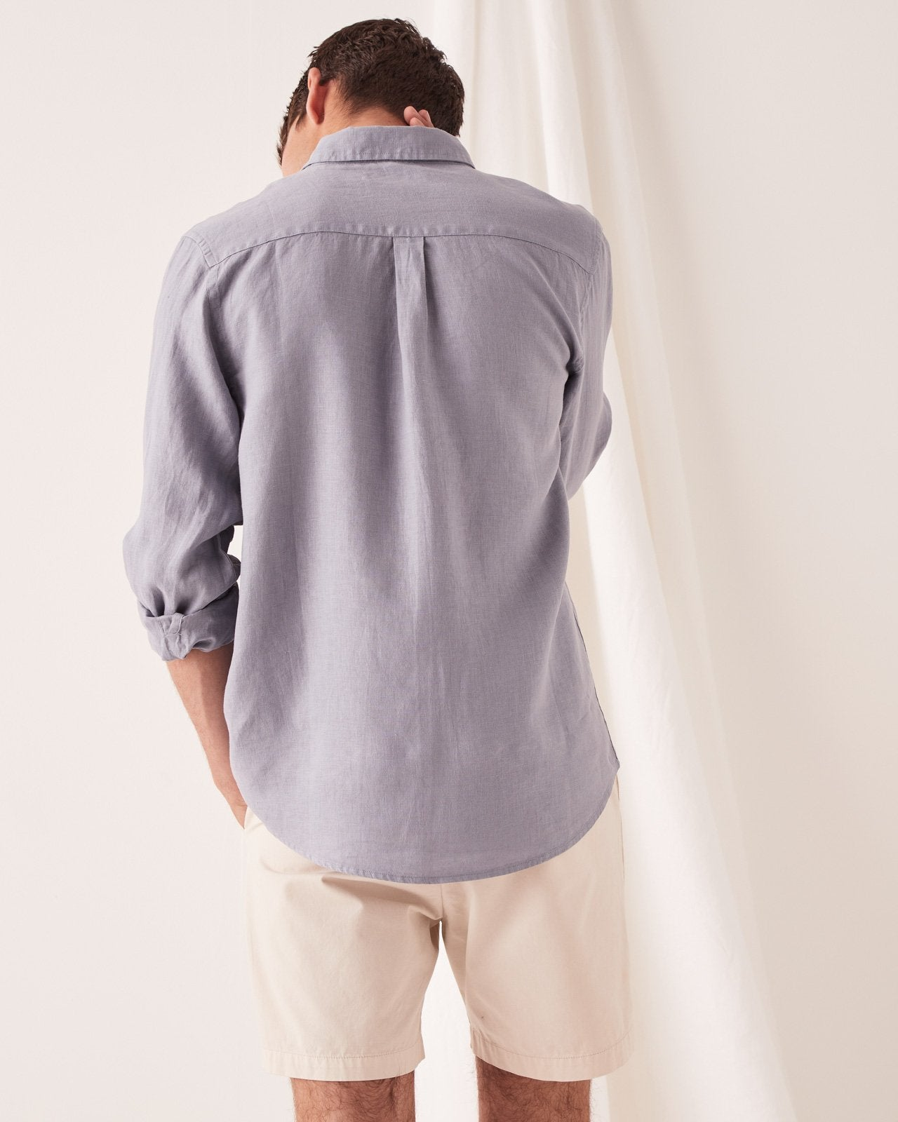 Casual Long Sleeve Shirt Steel Blue