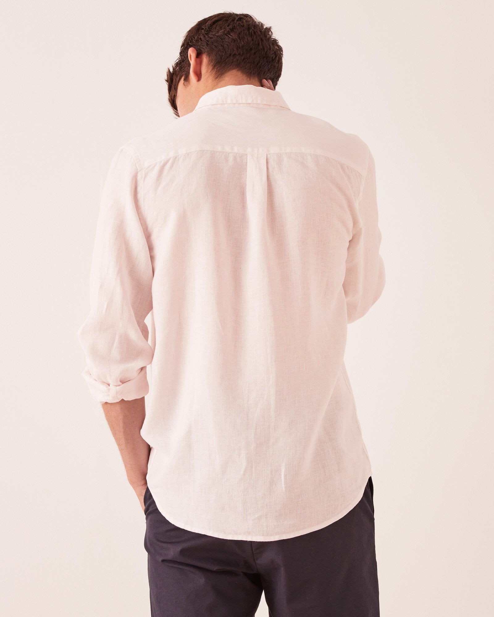 Casual Long Sleeve Shirt Pink Dew