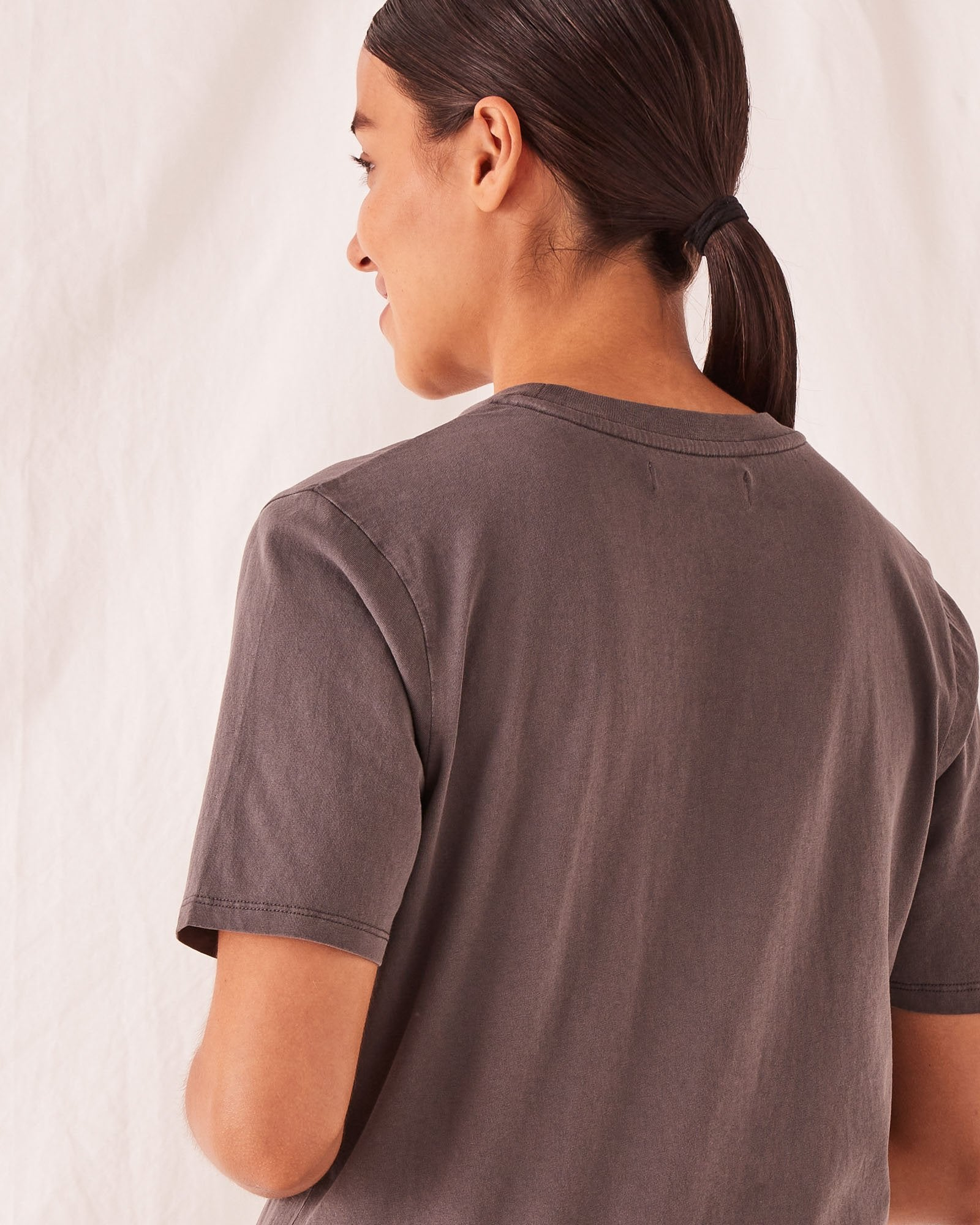 High Neck Crew Tee Sable
