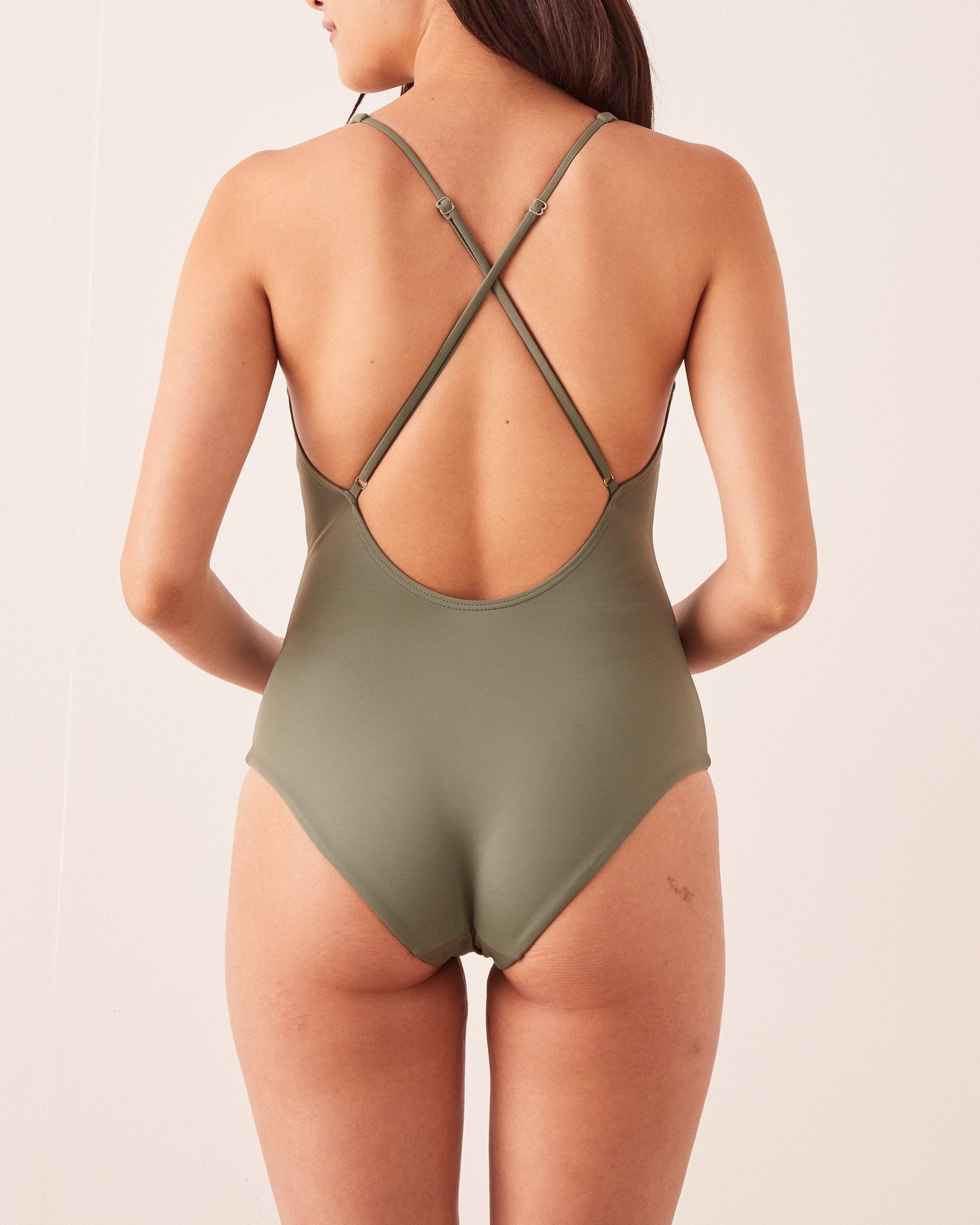 Low Back Swimsuit Soft Green