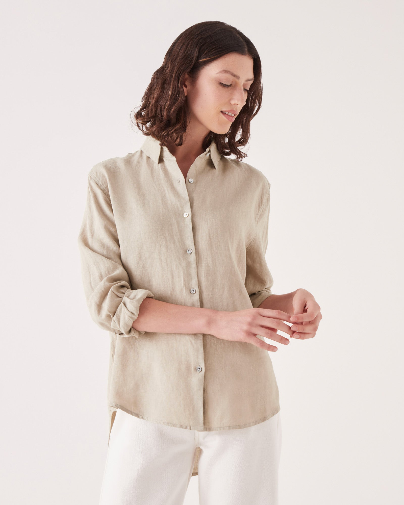 Xander Shirt Washed Khaki