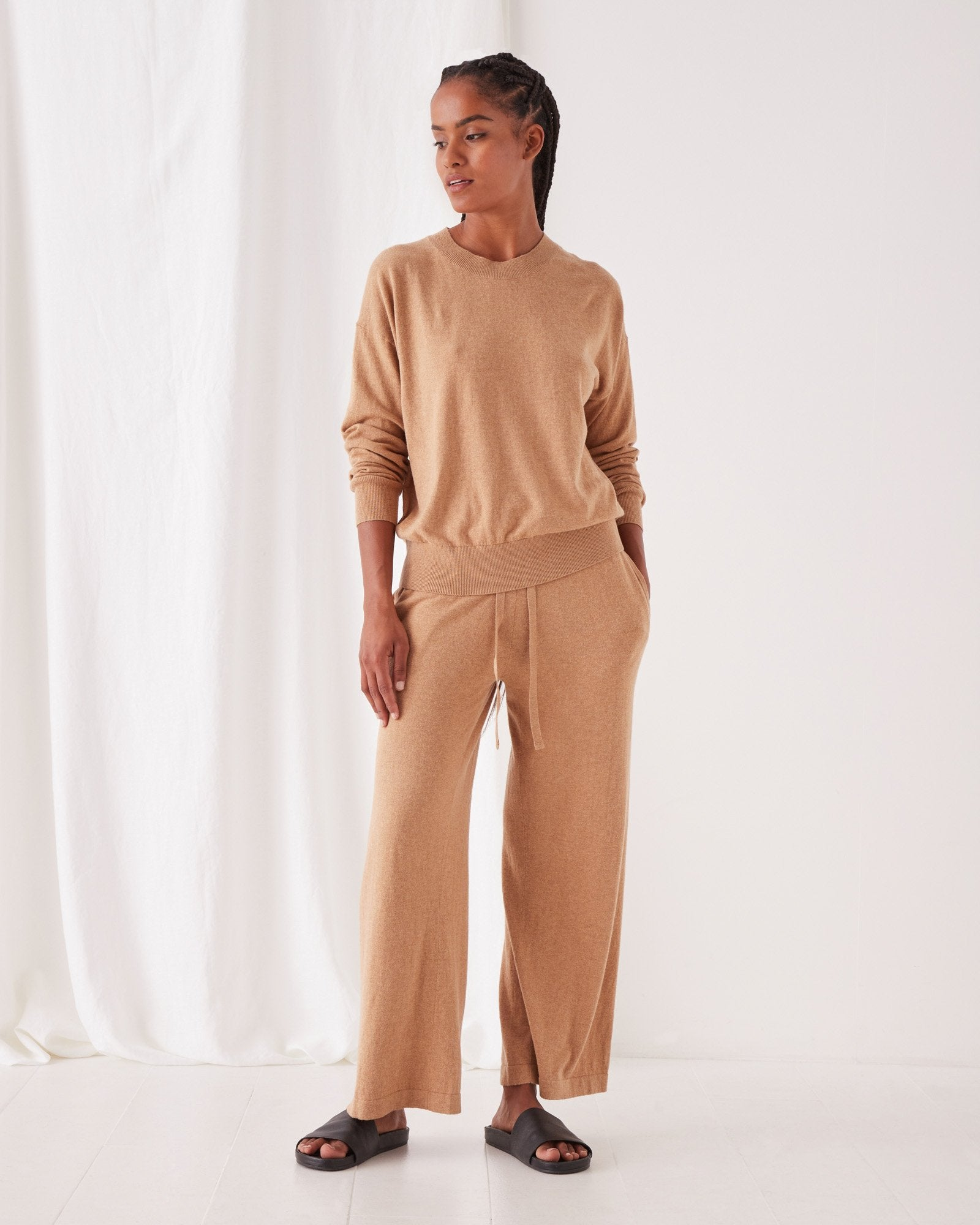 Cotton Cashmere Lounge Sweater Taupe