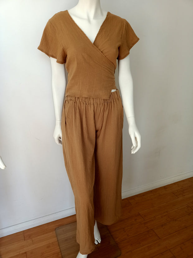 Crinkled Twizel Cheesecloth Wide Leg Pants - Design2Change
