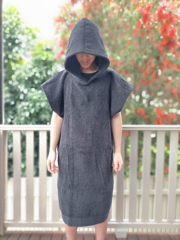 Towel Poncho - Charcoal Unisex - Design2Change