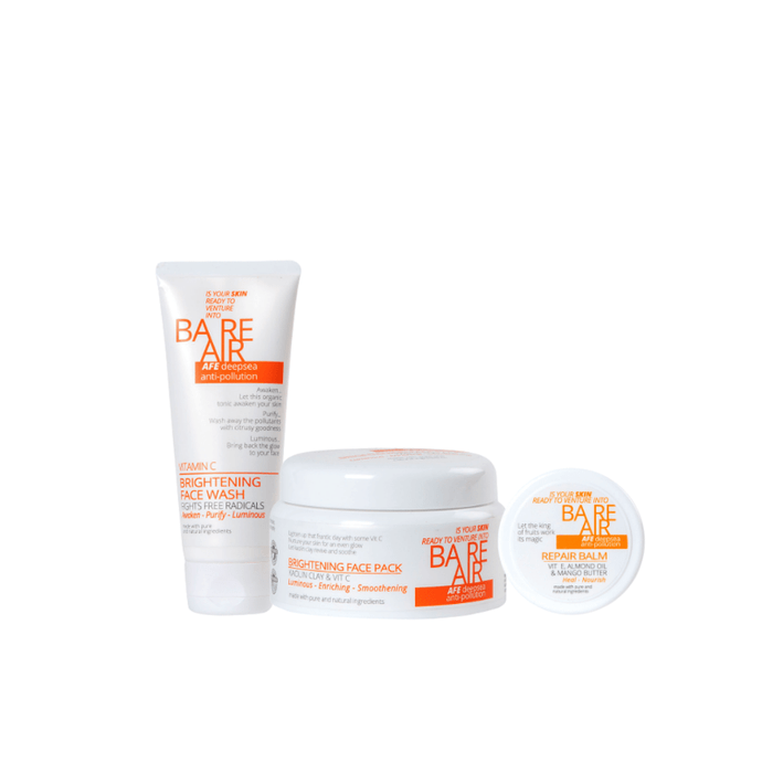 BareAir Combo-Brightening Face Pack + Face Wash + Balm