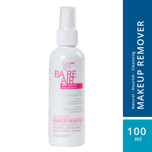 BareAir Makeup Remover (Oil Infused - Micellar Water, with Green Tea Extracts)