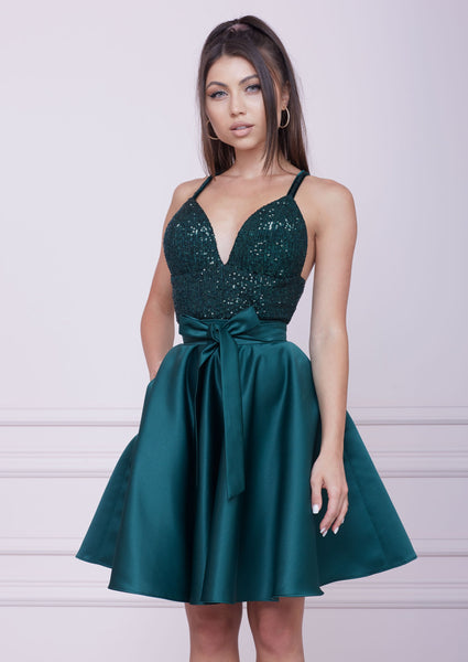 EMERALD GREEN Midi Sequin And Duchesse Dress