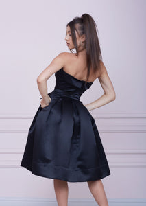 """LADY MALLINY"" Black Bustier Midi Dress"